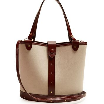 Bucket leather-trimmed canvas bag | The Row | MATCHESFASHION.COM US