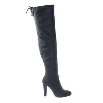 Dasiah1 Black F-Suede by Bamboo, Women High Block Heel OTK Over The Knee Dress Boots, Black Top Lace Tie