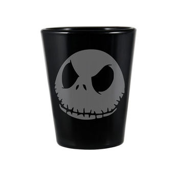 Jack Skellington Black Shot Glass - Nightmare Before Christmas Inspired Shot Glass - DEEP Etched Jack Skellington Glass - Geeky Glassed