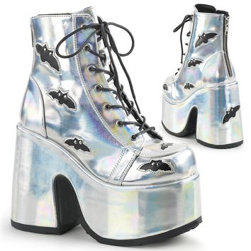 Demonia - CAMEL-201 - Silver Hologram-Black Vegan Leather - Women's Ankle Boots