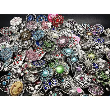 Women's 50PCs Assorted 18mm DIY Snaps Charms Buttons