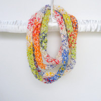 Crochet Infinity Wrap Rope Scarf Cowl in Rainbow and White, ready to ship.