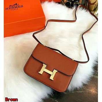 Hermes High Quality Fashionable Women Leather Crossbody Satchel Shoulder Bag Brown