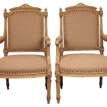 Hand-Carved French   Chairs, C. 1920
