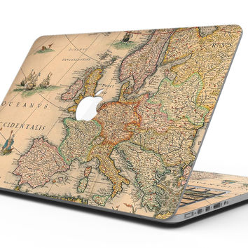 The Vintage Atlantic Ocean Map Pattern - MacBook Pro with Retina Display Full-Coverage Skin Kit