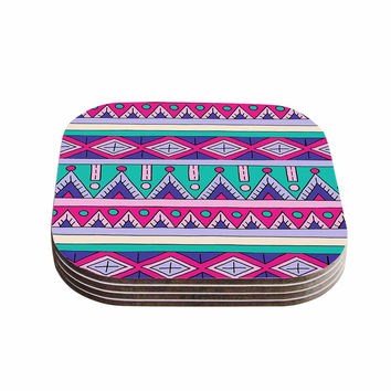 "Sarah Oelerich ""Teal Tribal"" Pink Purple Coasters (Set of 4)"