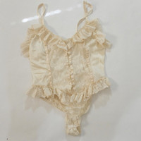 80s/90s Delicates Cream Colored Lacey Frilly Floral Lace Ruffle Button-Up Bodysuit Lingerie Piece