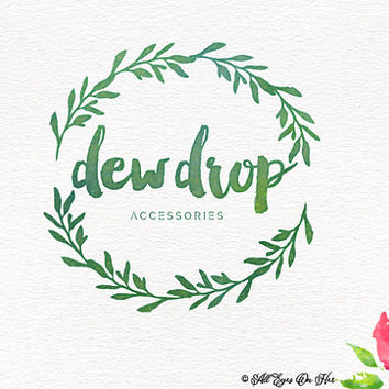 Dew Drop Logo Boho Water Color Premade Graphic Design