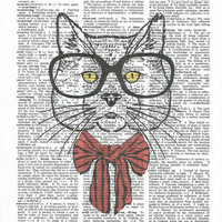 Cute Hipster Cat Dictionary Art Print on Upcycle Vintage Page Book Print Art Print Dictionary Print Collage Print