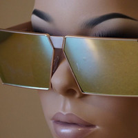 Flat Top Designer Oversized Sunglasses Mirrored Lens Square Frame Women Fashion