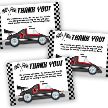 Race Car Thank You Card - Race Car Birthday Party Favor Tags - Boys Red Racing Thank You Tags - Drag Race - Red Sports Car - Boy Birthday