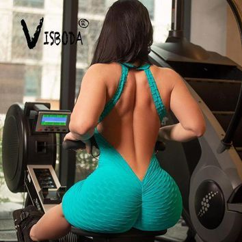 Women Sexy Pink Bodycon Jumpsuit Fitness Bandage Backless Bodysuit Summer Female V Neck Sleevless Workout Push Up Playsuit