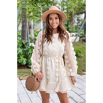 Cream Short Dress with Flowers