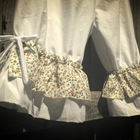 White Knee Length Womens Bloomers with white and flower ruflles