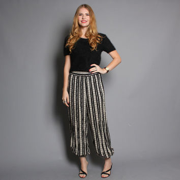 80s High Waist HAREM PANTS / Black Striped Print Trousers, xs-m