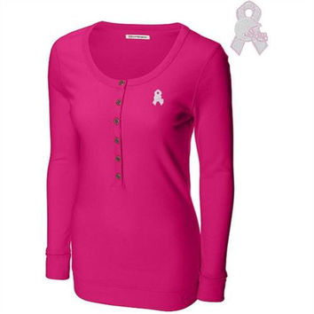 Cutter & Buck Cleveland Browns Women's Breast Cancer Awareness Halftime Long Sleeve Henley