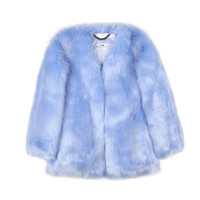 Baby Blue Faux Fur Coat / Shop Super Street