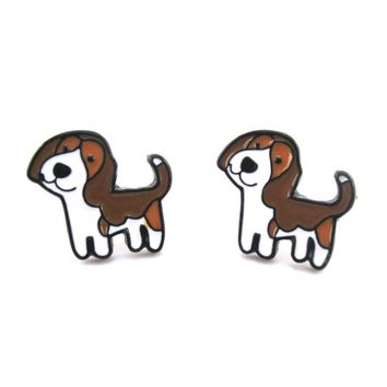 Beagle Puppy Shaped Enamel Stud Earrings for Dog Lovers