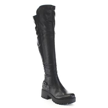 Women's Buckle Strap Lug Sole Over Knee High Boots Vegan Leather