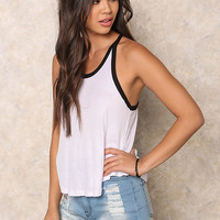 White Outlined Ribbed Knit Tank Top