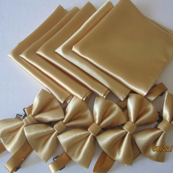 Gold satin bow tie, gold pocket square, Gold pocket square match set bow tie. Shiny gold satin bow tie, pocket square match set gold bow tie