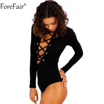 Nadafair 95% Cotton Knitting Lace-up Turtleneck Long Sleeve Skinny Sexy Club Bodysuits Women Basic Autumn Tops Black Rompers