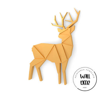 Printable DIY template (PDF).  Wall Deer low poly paper model. 3D paper puzzle. Animal paper sculpture. Origami.