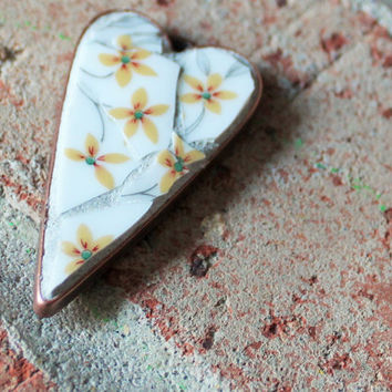 Grace  - OOAK Mosaic Art Pendant, Wearable Art, Mosaic Jewelry, Floral Pendant, Broken China Pendant, Broken China Mosaic