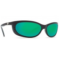 Fathom Matte Black Sunglasses with Green Mirror 400G Lenses by Costa Del Mar