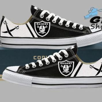 DCCK1IN hand painted converse low sneakers oakland raiders raider nation football superbow
