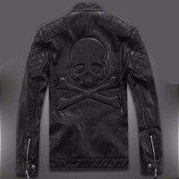 Top Quality Black Leather skull jacket water washed leather
