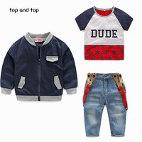 New! retail free shipping children's clothing for boys set shirt + plaid shirt + jeans boy fall suit boys clothes