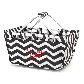 Chevron Market Tote Black - Monogrammed Personalized Bag