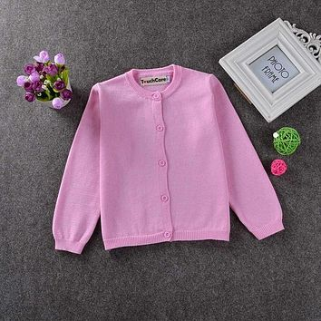 Girl Sweaters Kid Outerwear Cardigan Casual Solid Boy Clothes Western Style Knit Children's Sweater Fashion