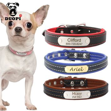 Personalized Engraved Dog Collar Custom Leather Puppy Cat Pet Collars With Name Plate Phone ID Tag For Small Medium Dogs