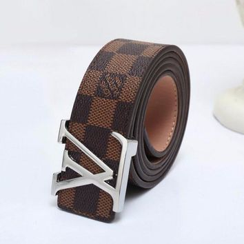 Best Online Sale Luxury Louis Vuitton LV Lattice Buckle Belt Leather Belt  - 3 Style