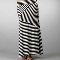 Black-White Asymmetrical Maxi Skirt
