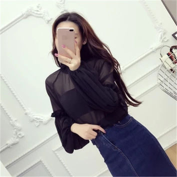 New 2017 Female Fashion Korea Style Lace Blouses With Wrapped Chest Slim Sexy Shirt woman Blouse Lantern Sleeve Tops 72478