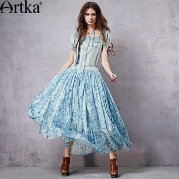 Artka Denim Maxi Dress For Women 2017 Bohemian Dress Women Ethnic Long Dress Female Off Shoulder Dress Vestidos Mujer LX15155X