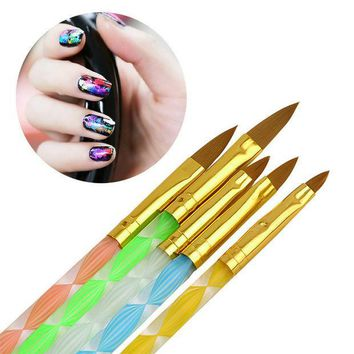 PEAPGB2 5Pcs/set Nail Art Brush Tools Set Acrylic UV Gel Builder Painting Drawing Brushes Pens Cuticle Pusher Tool Colorful
