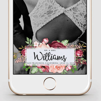Custom Snapchat Geofilter | Wedding Snapchat Geofilter | Marsala Watercolor in Script Calligraphy | Snapchat Filter