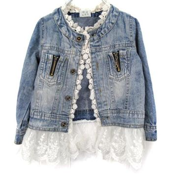 Patchwork Lace Crochet Button Long Sleeve Denim Kids Jackets