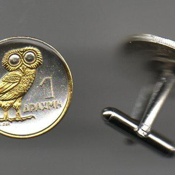 Unique 2-Toned Gold on Silver Greek Owl,  Coin Cufflinks
