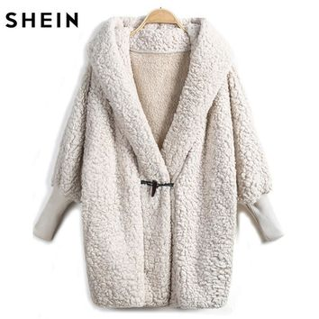 SHEIN Apricot Batwing Long Sleeve Loose Hooded Coat