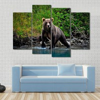 Bear Moving In Water Canvas