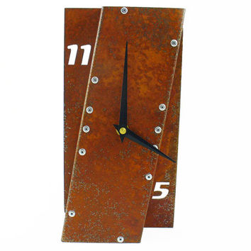 Leaning I, Rustic Desk Clock, Farmhouse, Silent, With Numbers, Rusty Metal Art, Small Table, Rectangle, Mantle, Nursery, Continuous Movement