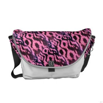 Coral Black Aztec Print Messenger Bag