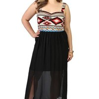 plus size tribal print maxi dress with chiffon double slit hem - 1000050287 - debshops.com