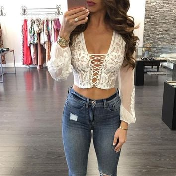 White Blouse Women European Style Bodycon Lace Up Long Sleeve Lace