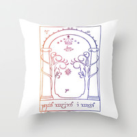 speak friend and enter in elvish Throw Pillow by Studiomarshallarts